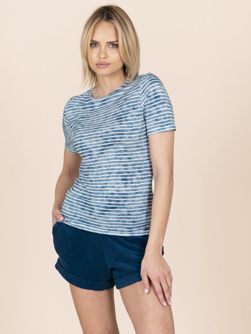 T-shirt girocollo a righe azzurra