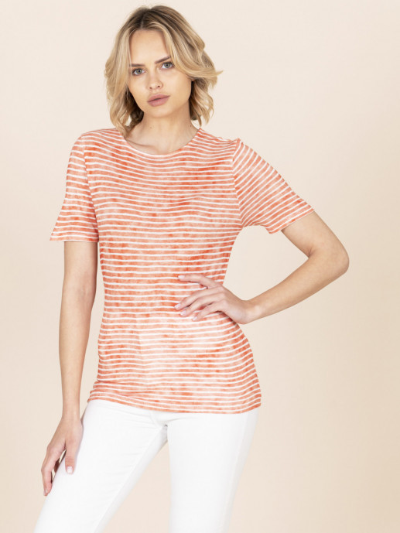 T-shirt girocollo a righe arancione