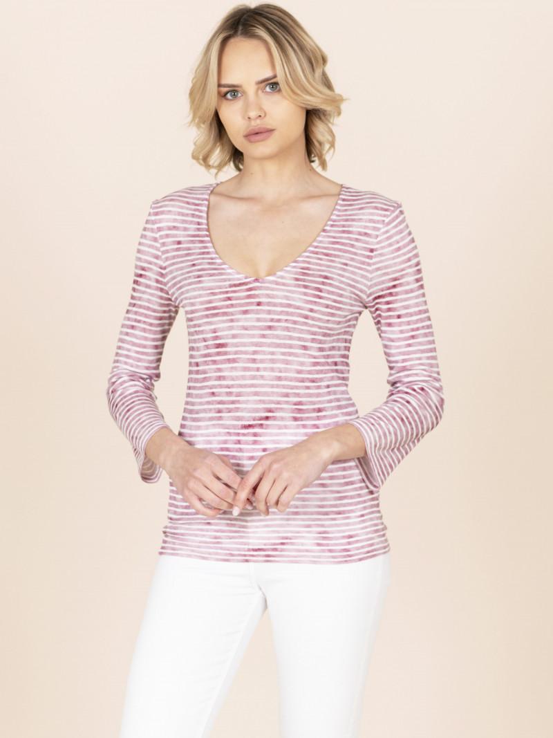 T-shirt scollo a V a righe rosa scuro