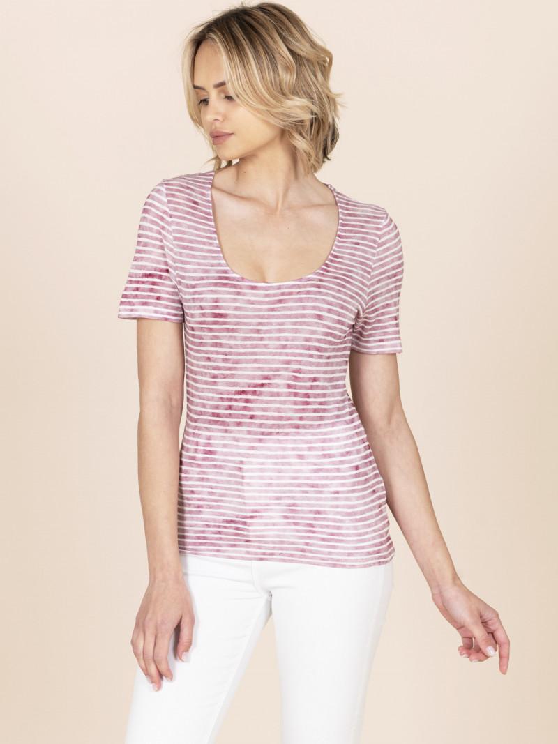 T-shirt scollo a U a righe rosa scuro