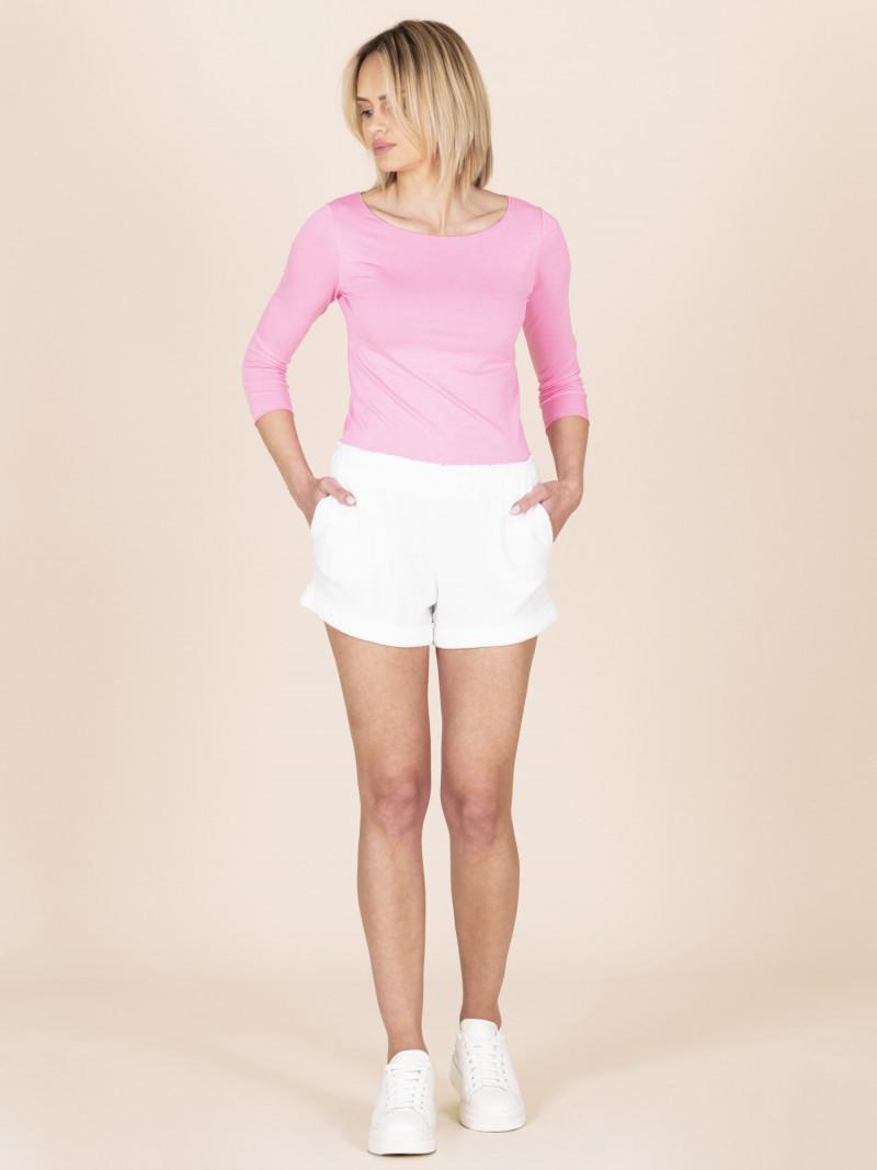 Shorts in spugna bianchi con elastico in vita e tasche
