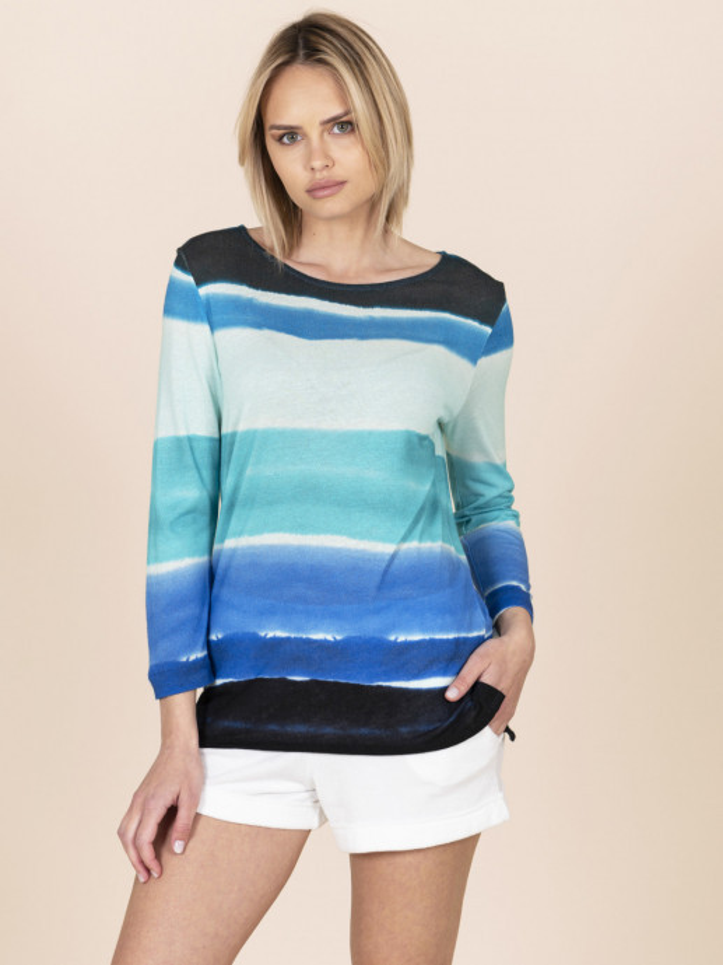 T-shirt puro lino blu sfumata da donna con scollo a barchetta e maniche a tre quarti