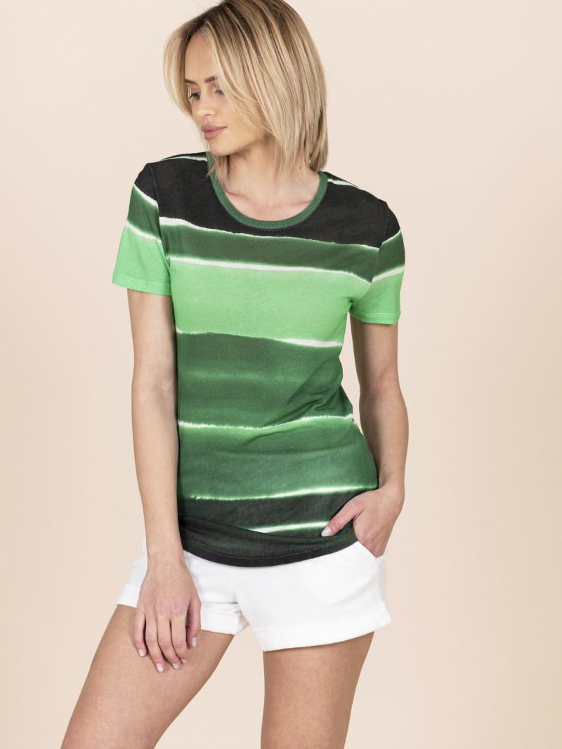 T-shirt puro lino verde sfumata da donna girocollo con maniche corte