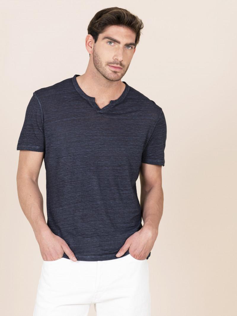 T-shirt blu scuro uomo serafino con manica corta in lino