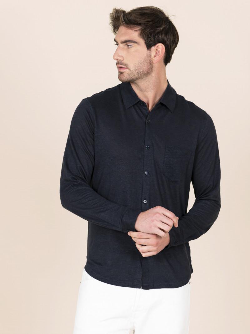 Camicia di lino uomo blu scuro con colletto e bottoni