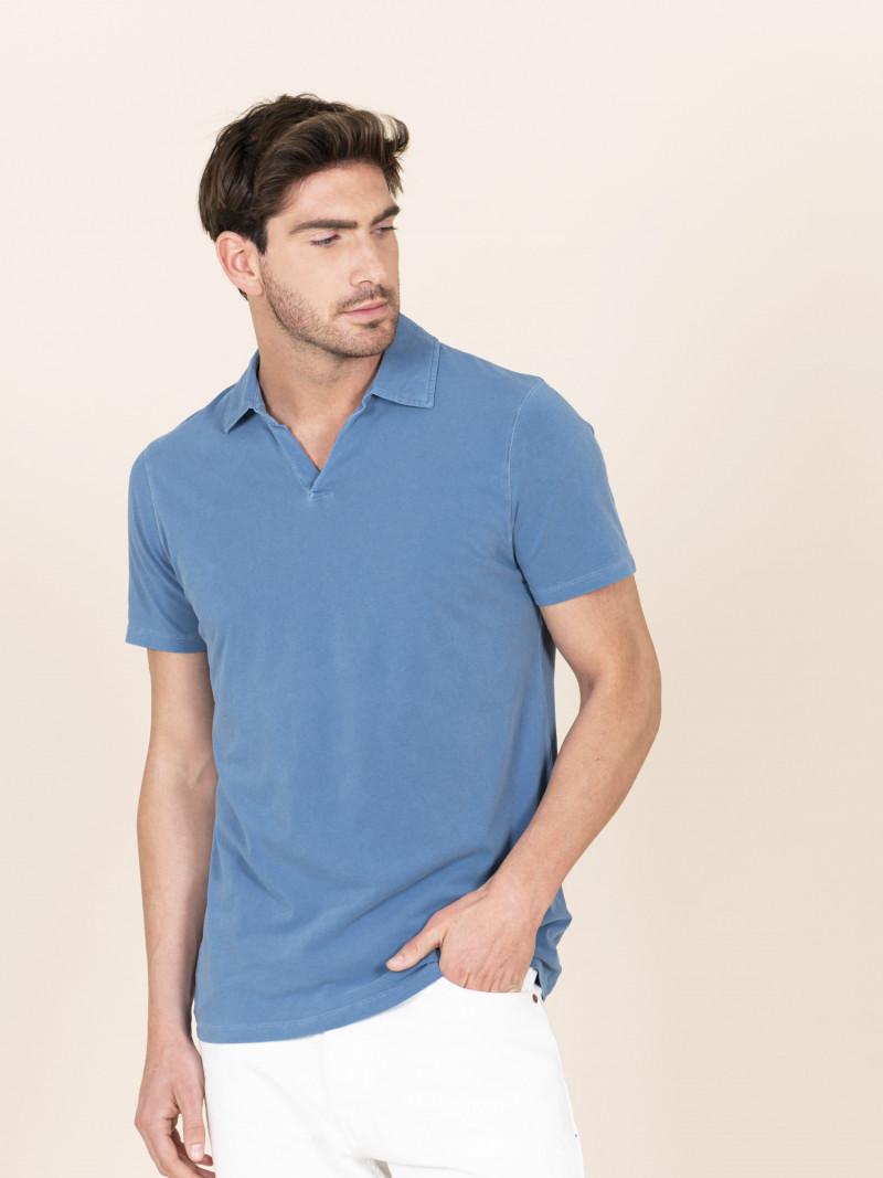 Polo azzurra slim uomo con maniche corte in cotone ed elastan