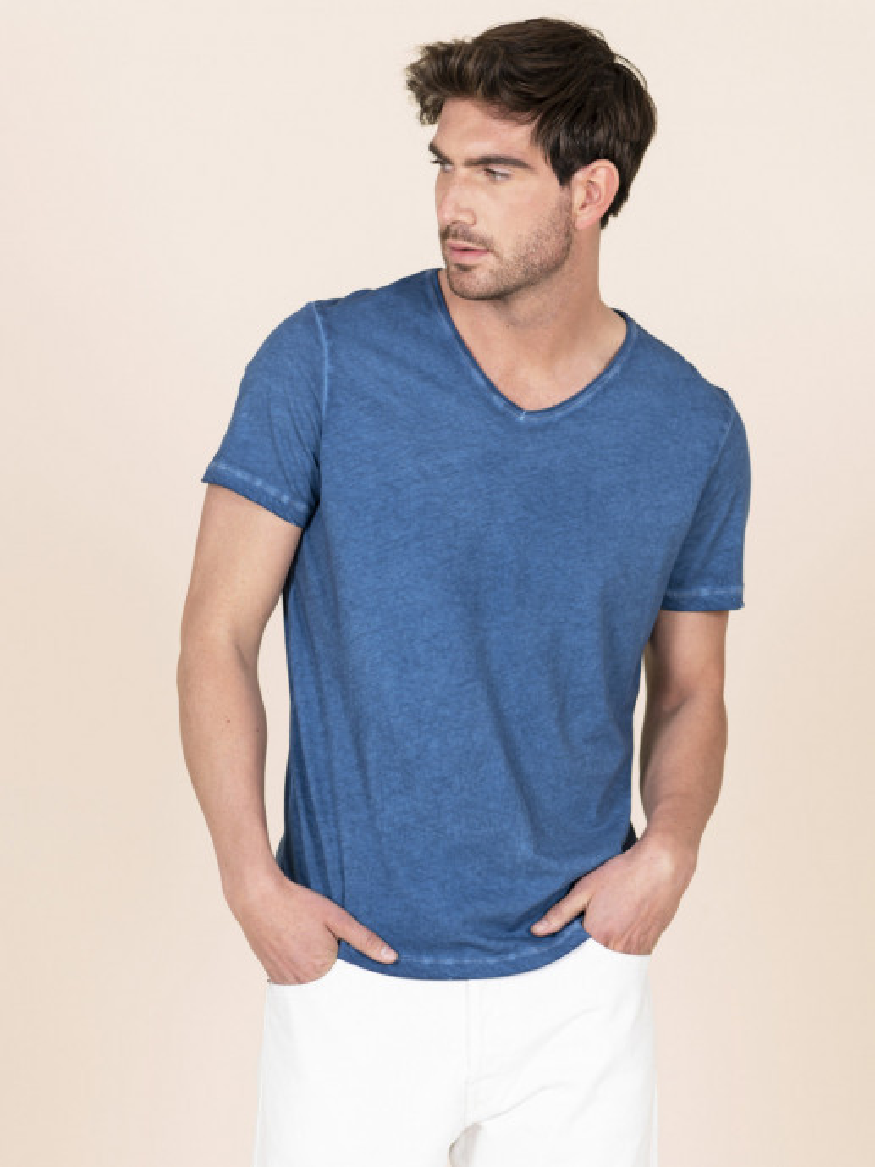 T-shirt puro cotone blu uomo scollo a V con manica corta