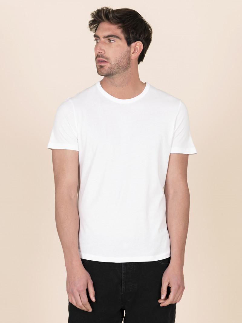 T-shirt slim bianca basica uomo girocollo con manica corta in 100% cotone