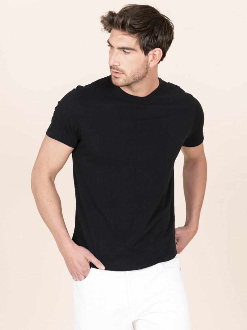 T-shirt nera uomo girocollo con manica corta in 100% cotone