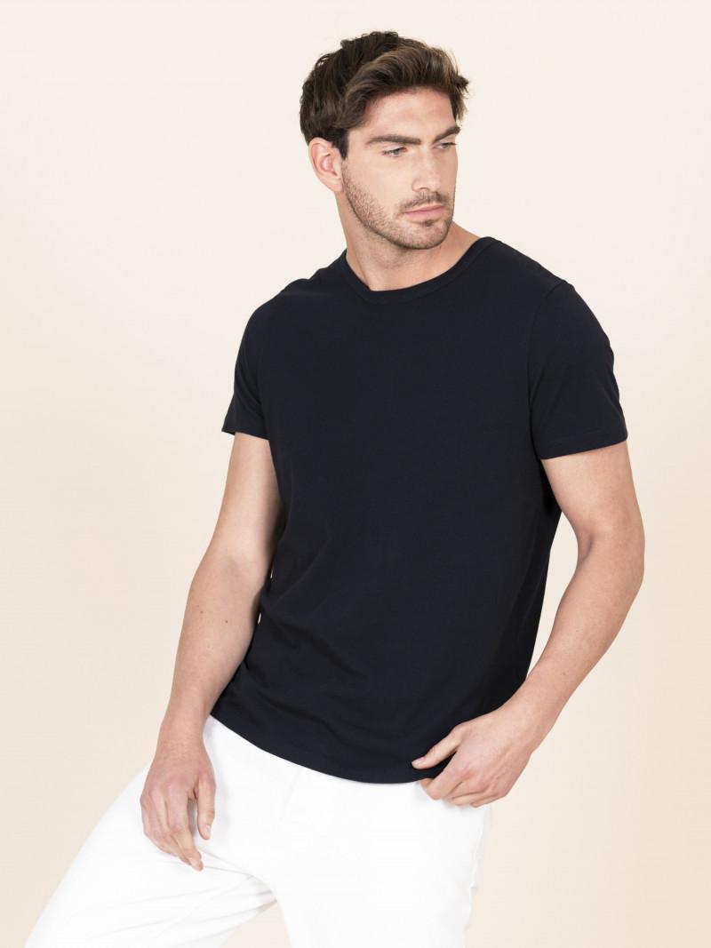 T-shirt blu scuro uomo girocollo con manica corta in 100% cotone