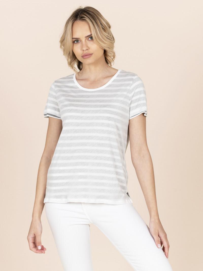 T-shirt girocollo doppio strato a righe grigia