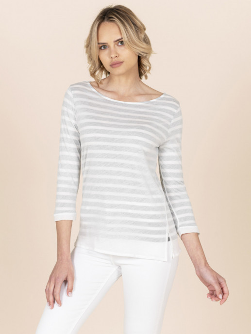 T-shirt scollo a barchetta doppio strato a righe grigia
