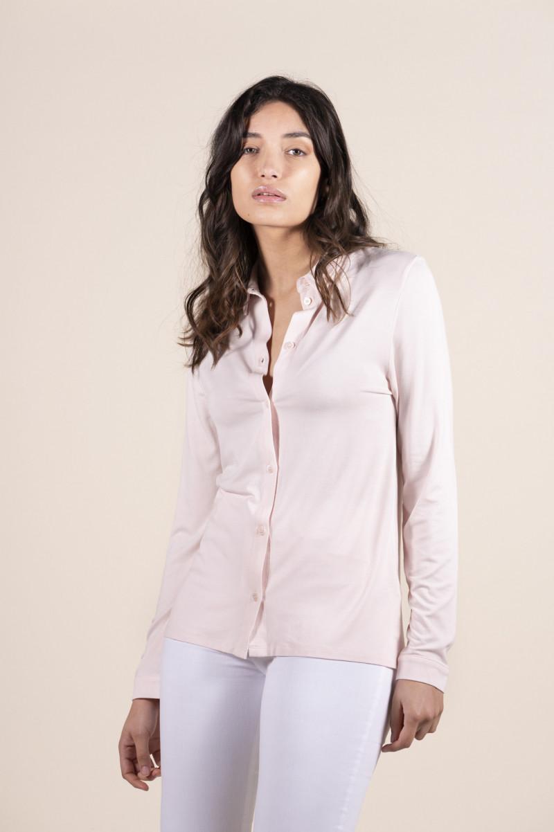 Camicia donna rosa chiaro con colletto e chiusura davanti con bottoni