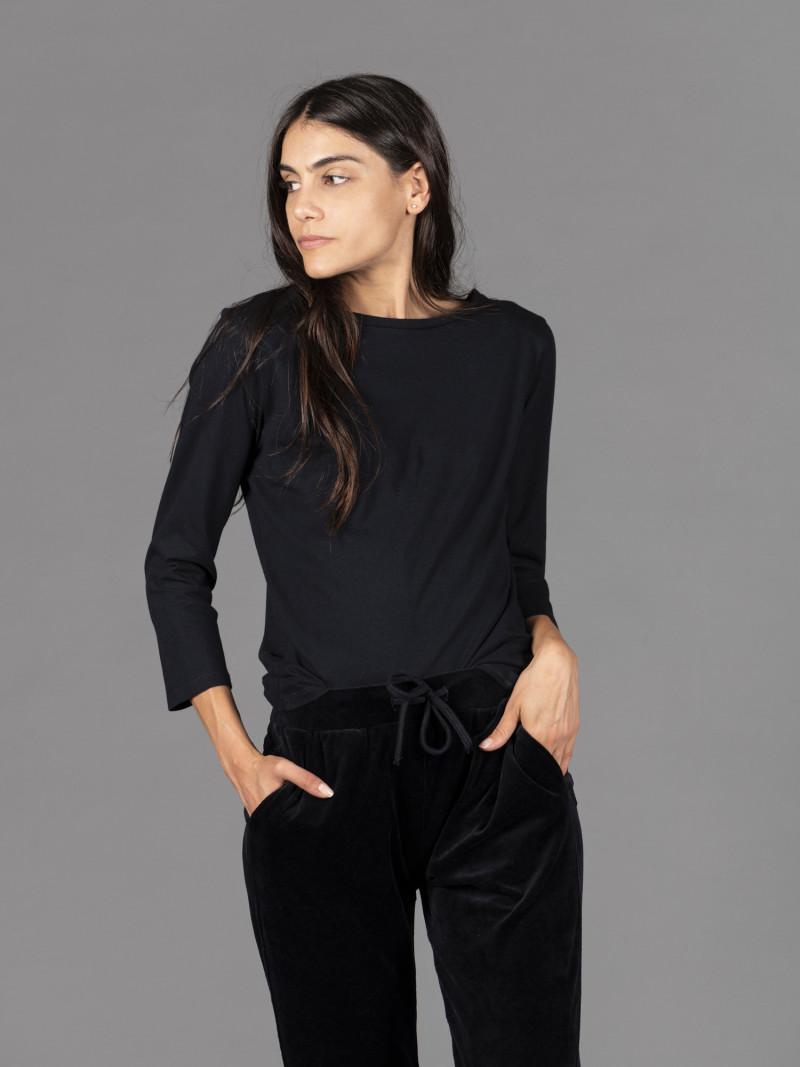 T-shirt blu barchetta donna con manica tre quarti in puro cotone