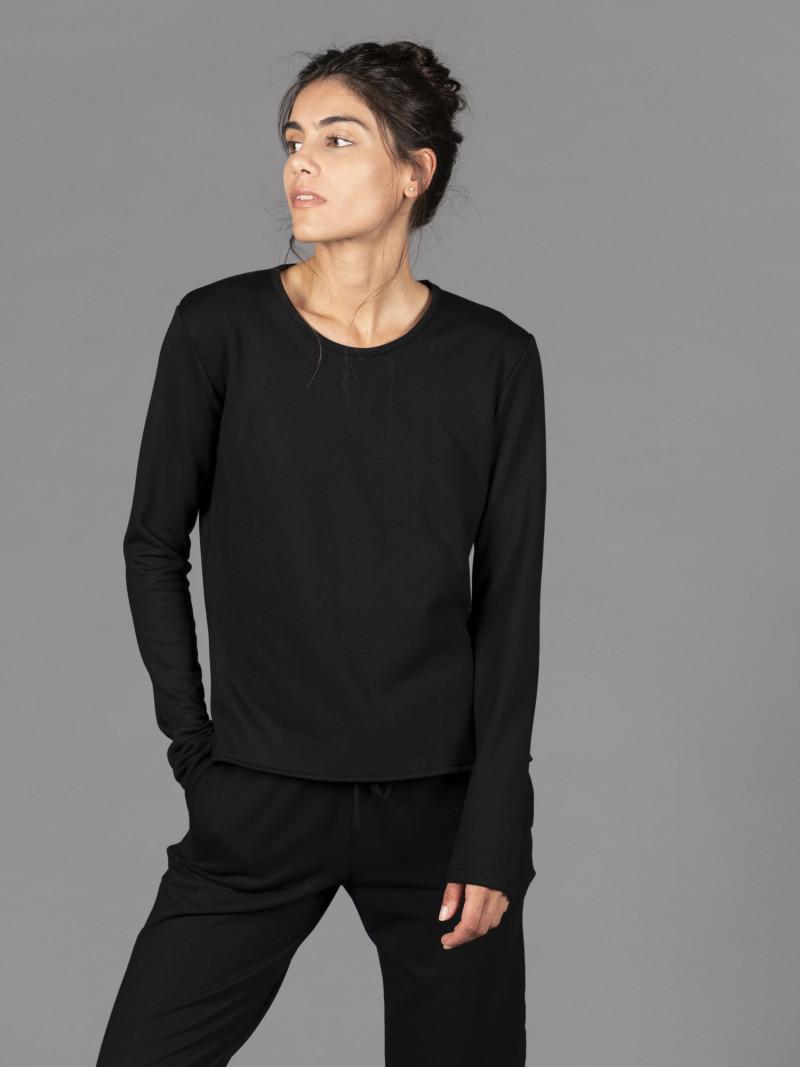 T-shirt felpata nera donna con maniche lunghe in viscosa