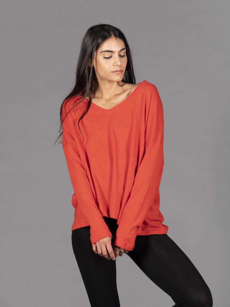 T-shirt in cotone e cashmere rosso acceso scollo a V
