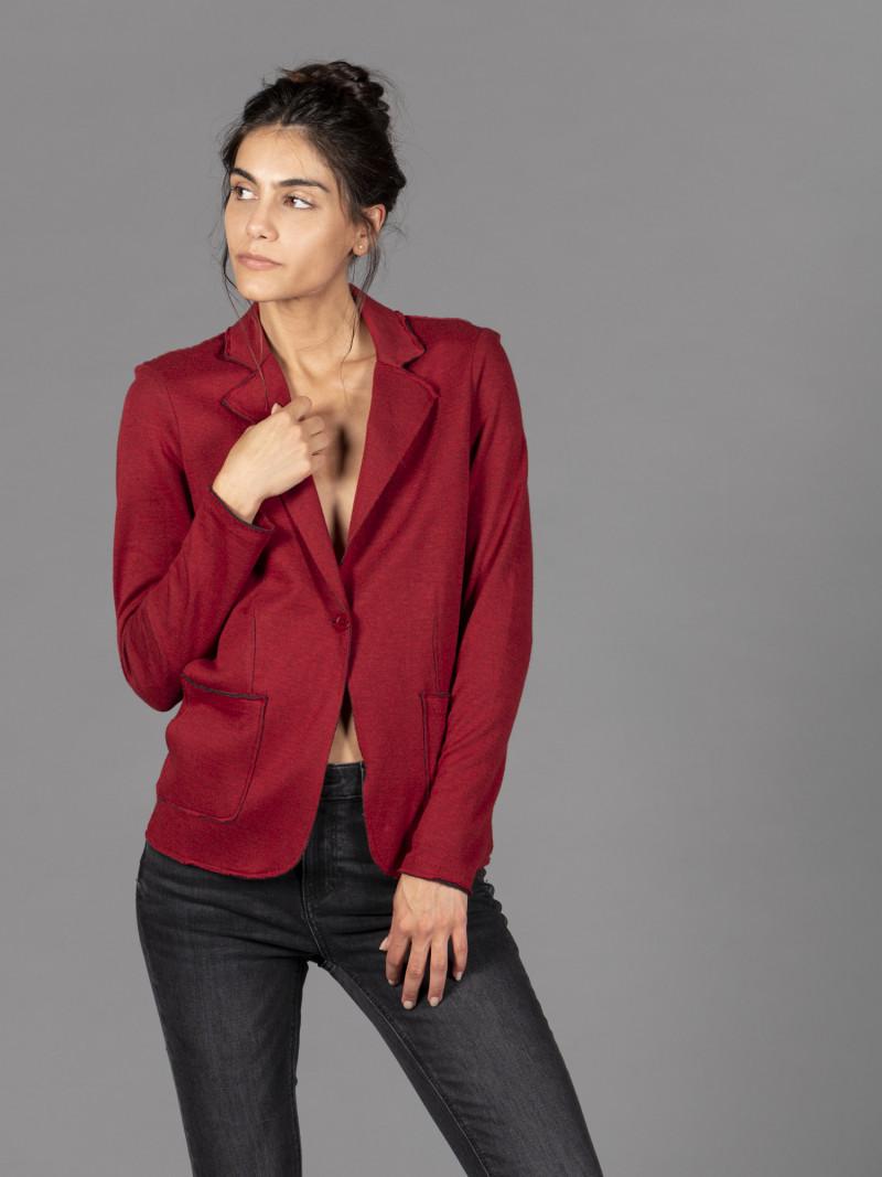 Giacca rossa da donna in cotone e cashmere