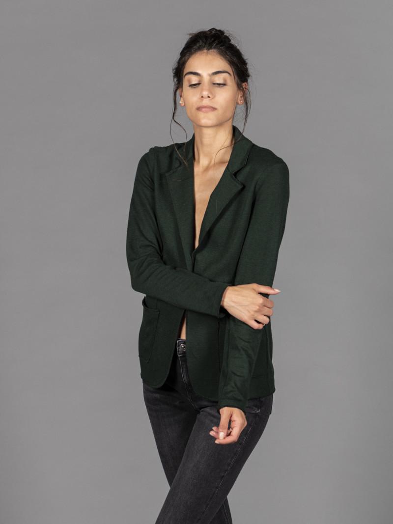 Giacca verde da donna in cotone e cashmere
