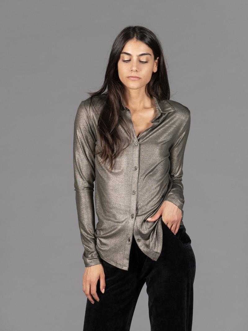Camicia bronzo donna con colletto e tasca in viscosa