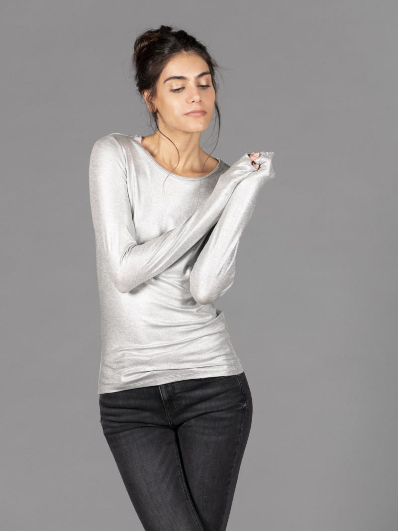 T-shirt argento donna girocollo con manica lunga in viscosa e vestibilità slim