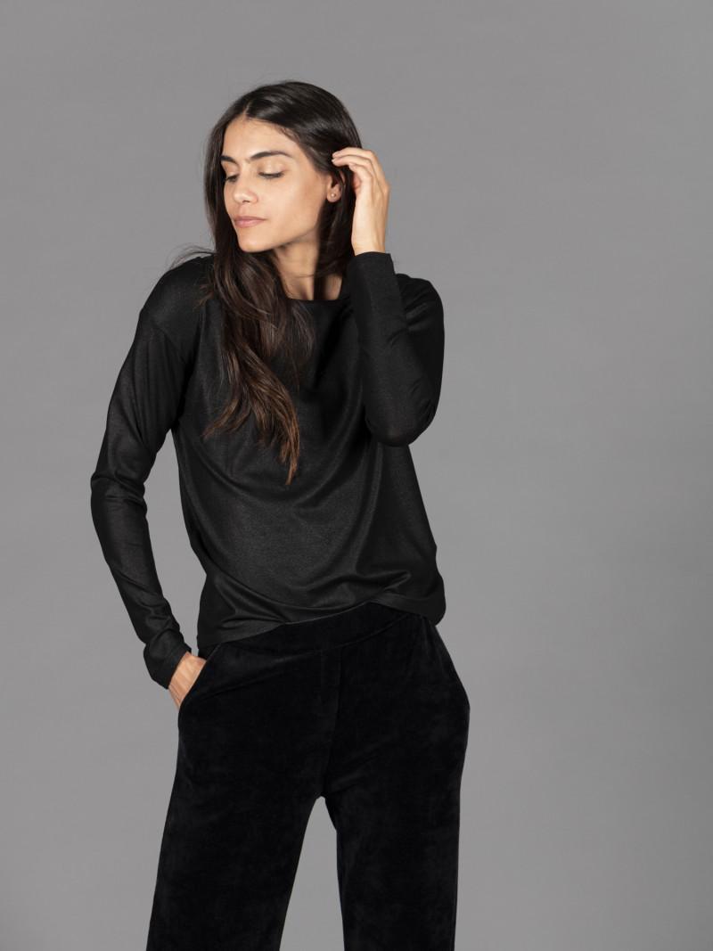 T-shirt nera metallizzata donna con manica lunga