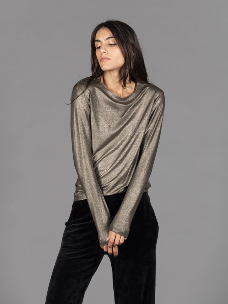 T-shirt bronzo metallizzata donna con manica lunga