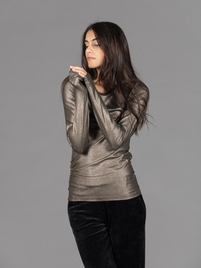 T-shirt bronzo donna girocollo con manica lunga drappeggio