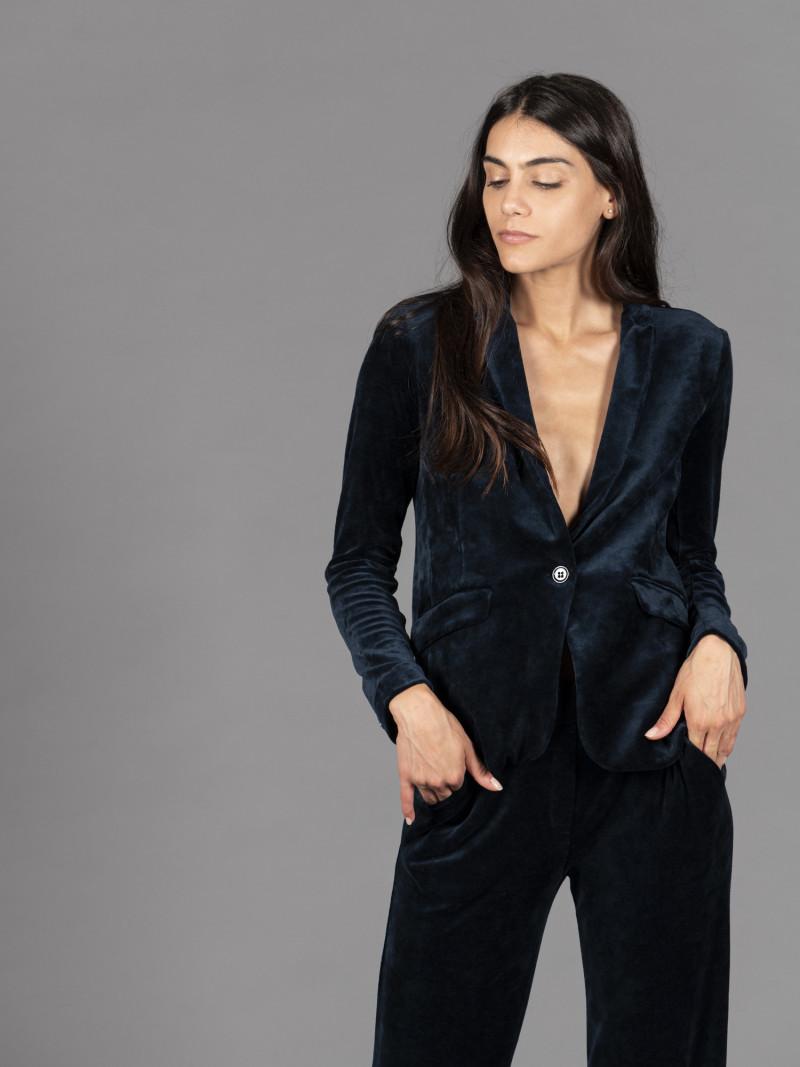 Giacca blu in velluto da donna con maniche lunghe e bottone