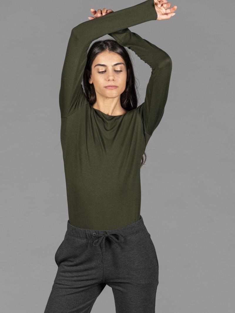 T-shirt verde barchetta donna con manica lunga in viscosa