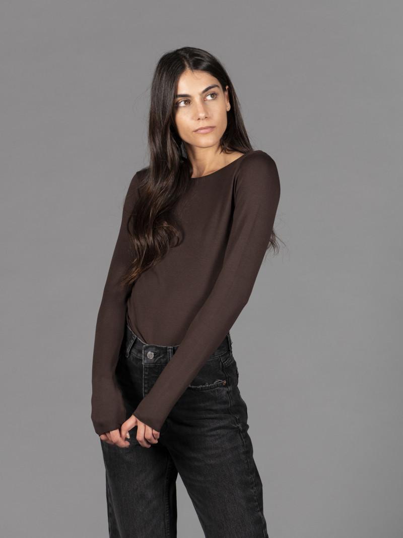 T-shirt marrone barchetta donna con manica lunga in viscosa