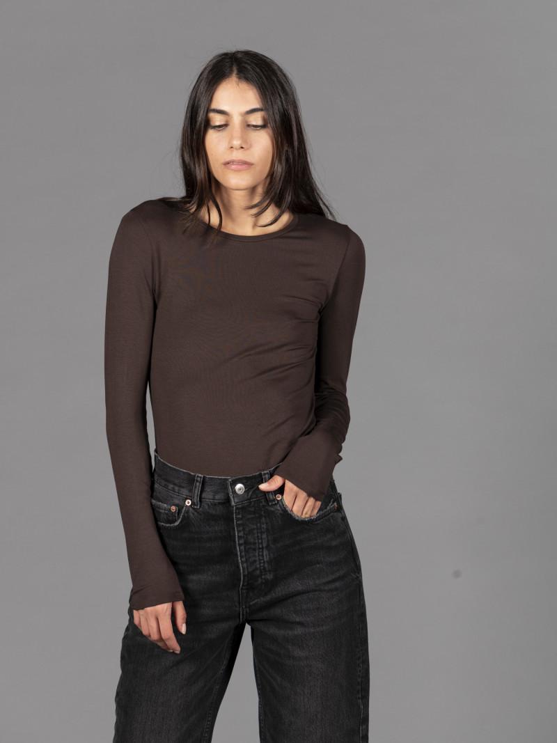 T-shirt marrone girocollo donna con manica lunga in viscosa