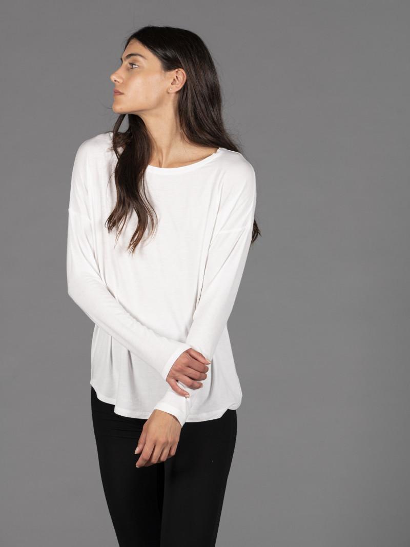 T-shirt oversize bianca barchetta donna con manica lunga in viscosa