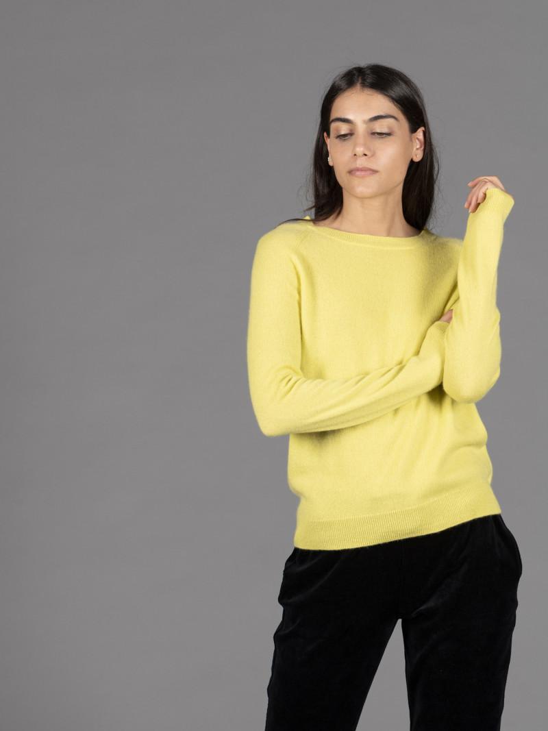 Maglione in 100% cashmere giallo girocollo