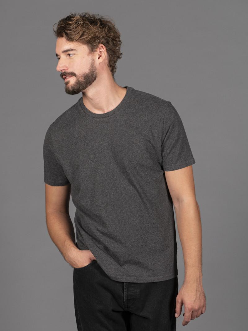 T-shirt antracite basica uomo girocollo con manica corta in 100% cotone