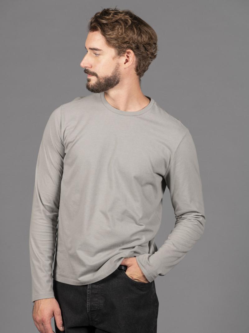 T-shirt grigia basica uomo girocollo con manica lunga in 100% cotone