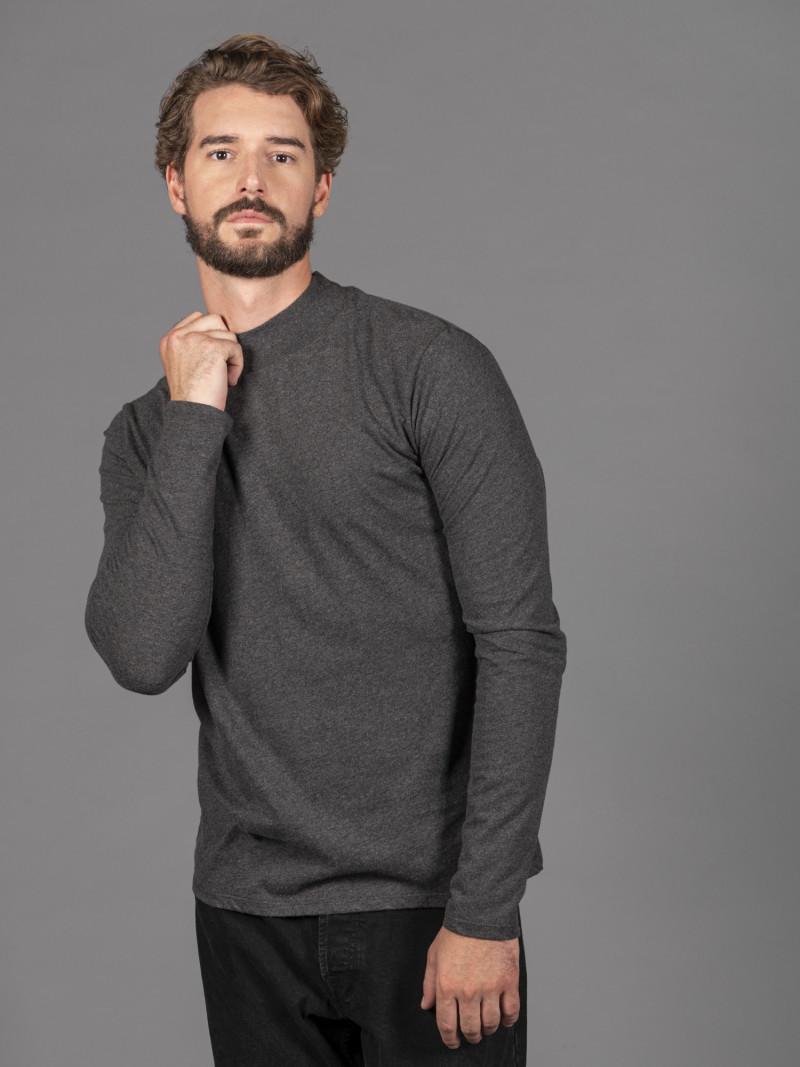 T-shirt antracite uomo a collo alto con manica lunga in 100% cotone