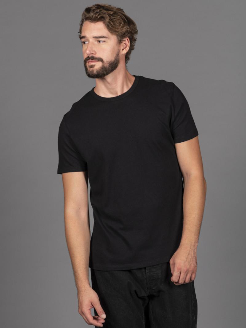 T-shirt nera uomo girocollo con manica corta in cotone e cashmere