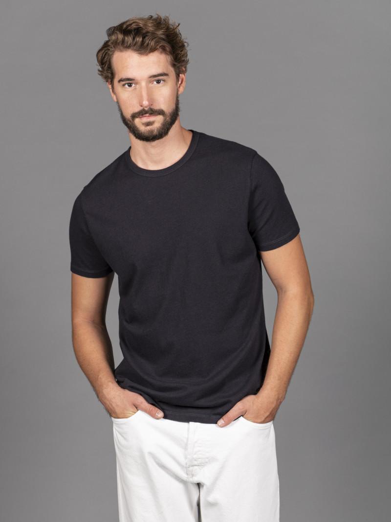 T-shirt blu uomo girocollo con manica corta in cotone e cashmere