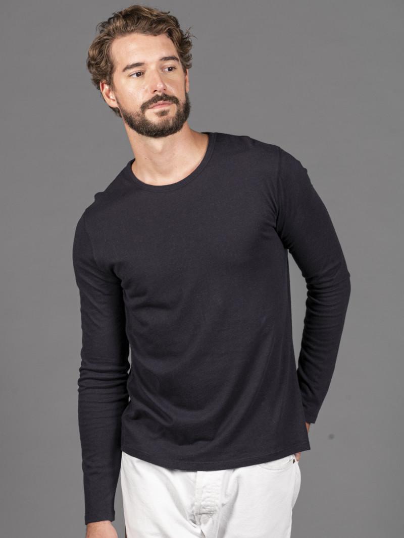 T-shirt blu uomo girocollo con manica lunga in cotone e cashmere