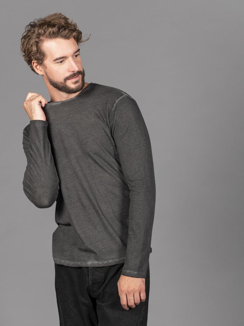 T-shirt nera uomo girocollo con bordino arricciato in cotone e cashmere