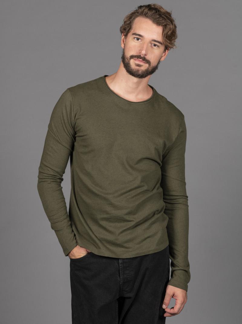 T-shirt verde militare uomo girocollo con bordino arricciato in cotone e cashmere