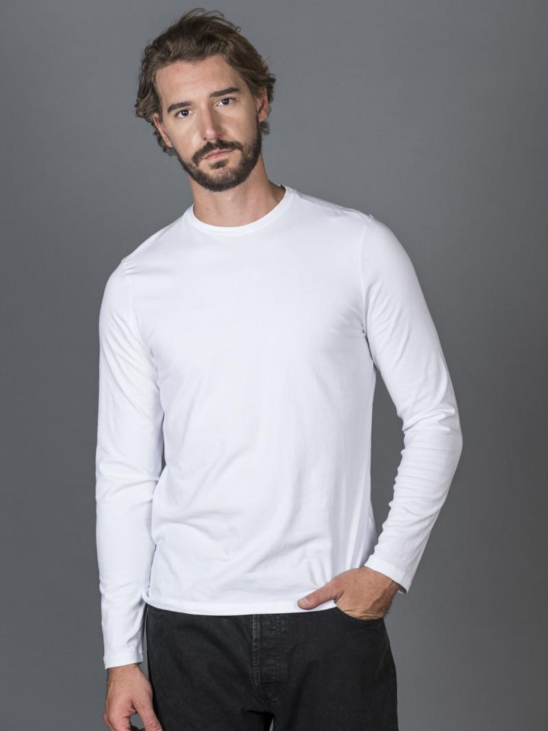 T-shirt bianca slim uomo con maniche lunghe in cotone ed elastan