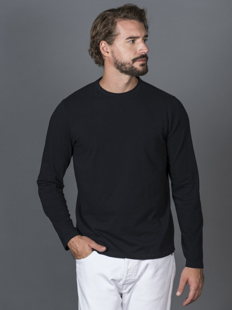 T-shirt blu slim uomo con maniche lunghe in cotone ed elastan