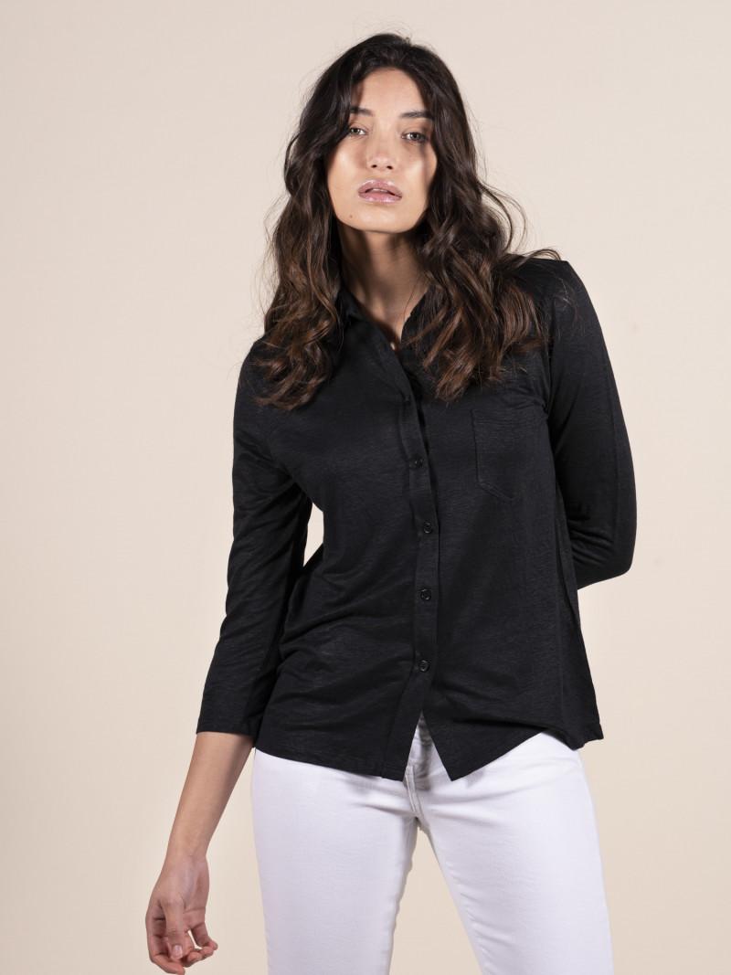 Camicia nera donna con colletto e tasca in lino ed elastan