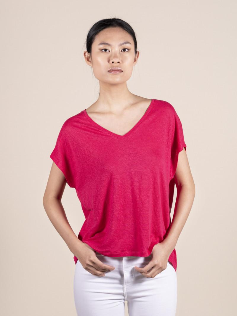 T-shirt rosa oversize donna con scollo a V e manica corta in lino ed elastan