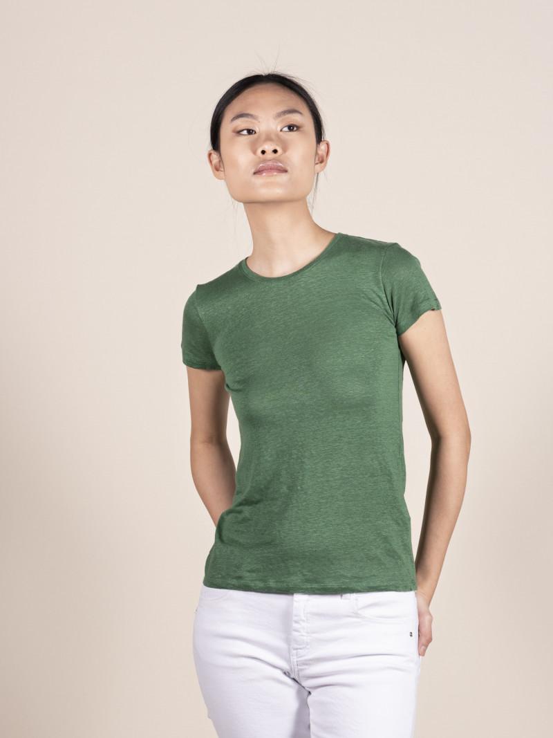 T-shirt verde basica donna girocollo con manica corta in lino ed elastan e vestibilità slim