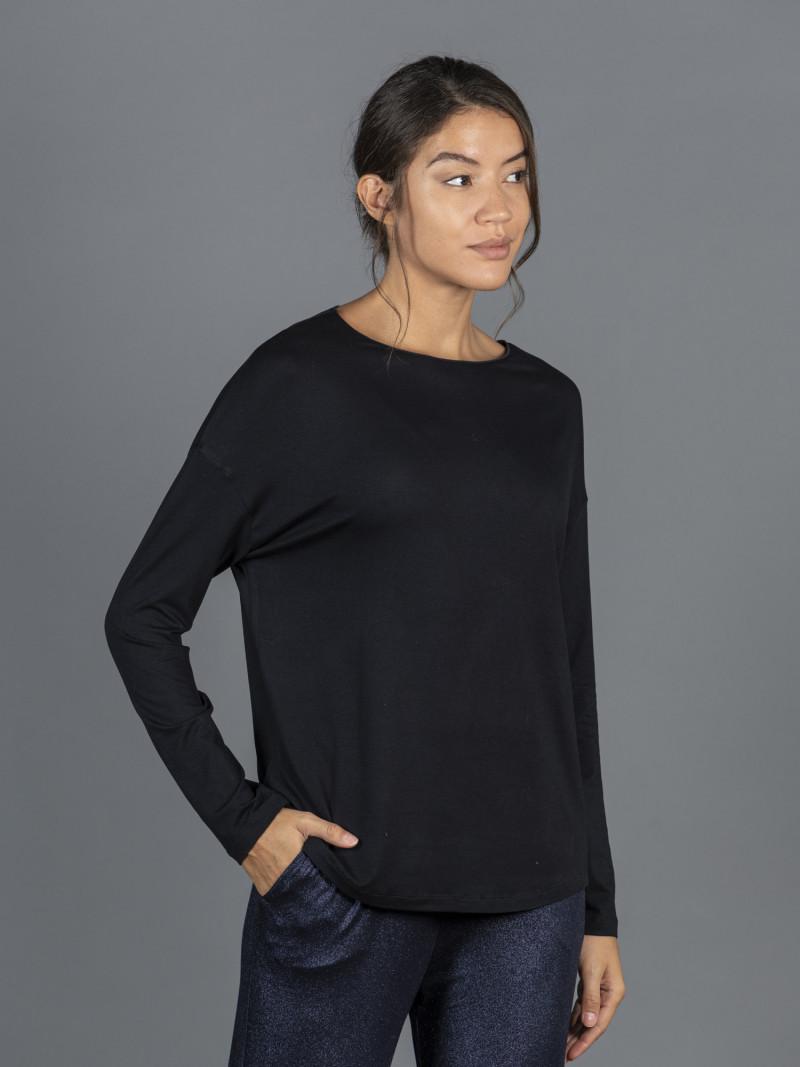T-shirt oversize blu scuro barchetta donna con manica lunga in viscosa