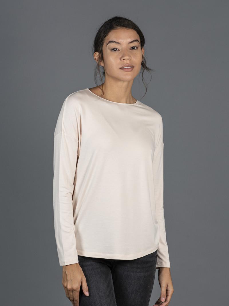 T-shirt oversize beige barchetta donna con manica lunga in viscosa