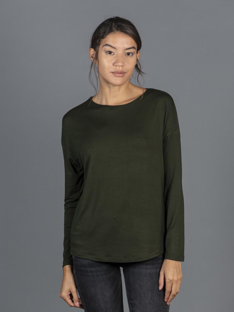 T-shirt oversize verde barchetta donna con manica lunga in viscosa