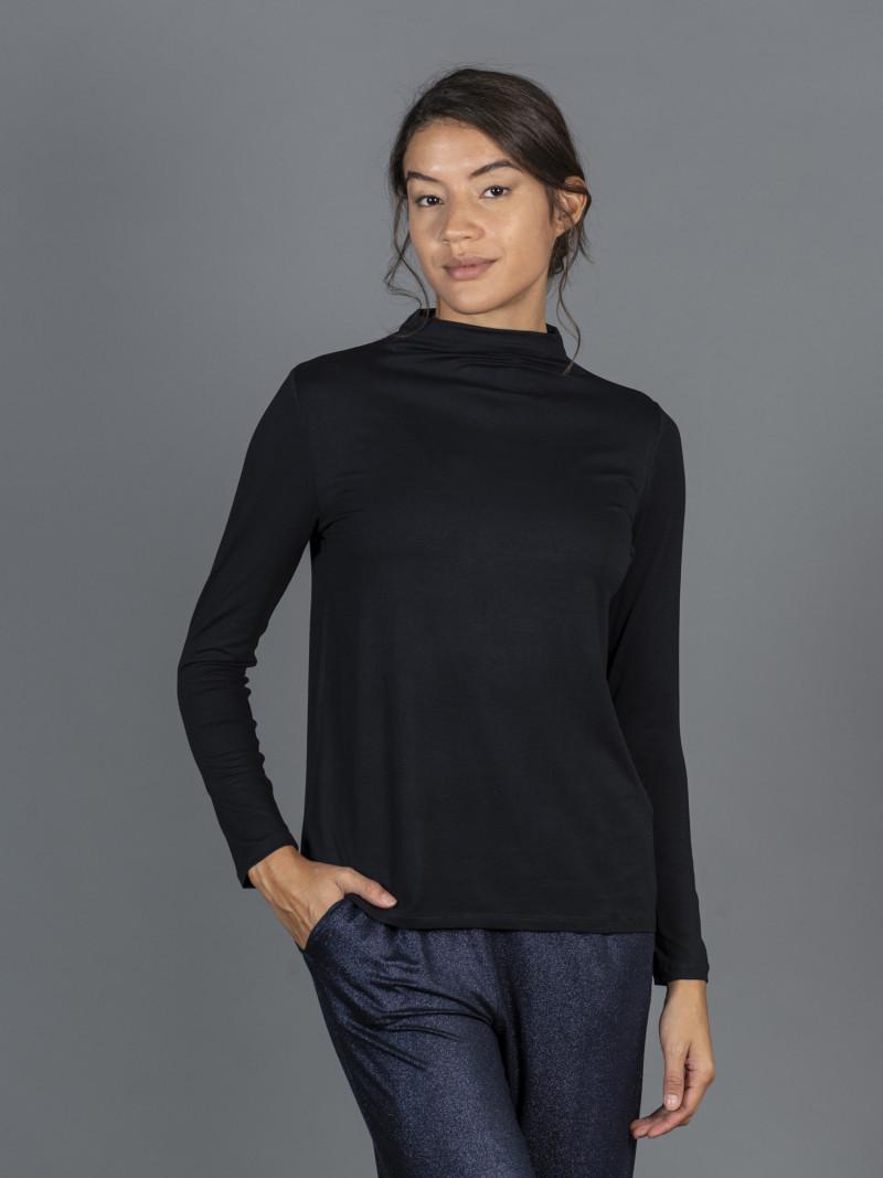 T-shirt blu scuro collo alto donna con manica lunga in viscosa